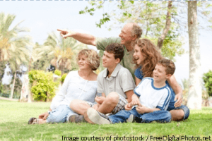 Potrait Of Grandfather Pointing With Family - photostock - freedigitialphoto